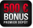 500€ de bonus de premier depot