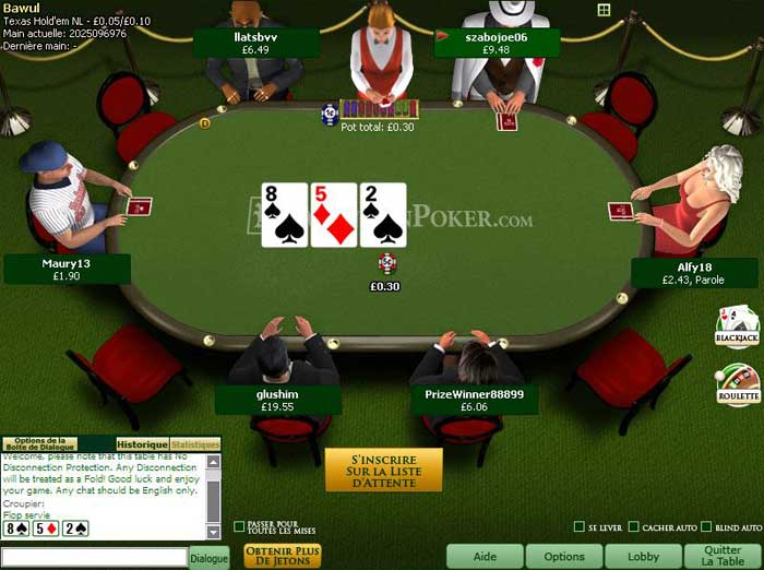 Table de Cash Game sur Mansion Poker