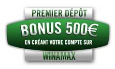 500 euros de bonus de bienvenue sur winamax