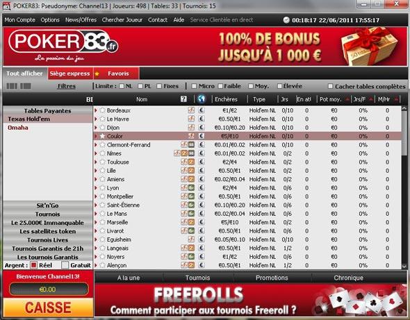 le lobby des tournois sur poker83.fr