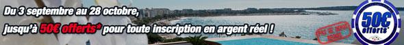 offre de 50€ gratuits sur barriere poker