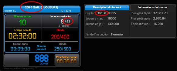 overlay sur un tournoi 888 poker de 2,5 euros